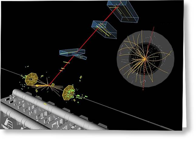 Lhc Greeting Cards - Proton collision Greeting Card by Science Photo Library