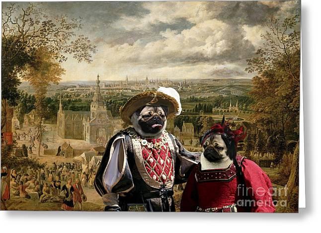 Pug Posters Greeting Cards - Pug Art Canvas Print Greeting Card by Sandra Sij