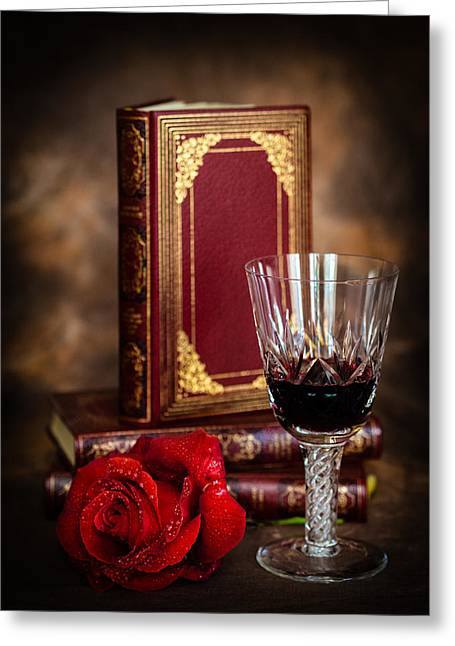 Red Wine Prints Greeting Cards - Red Rose Greeting Card by Mark Llewellyn