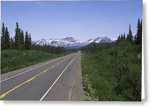 Double Yellow Line Greeting Cards - Road Passing Through A Landscape Greeting Card by Panoramic Images
