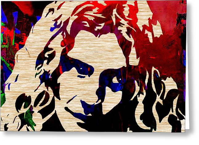 Jimmy Page Greeting Cards - Robert Plant Greeting Card by Marvin Blaine