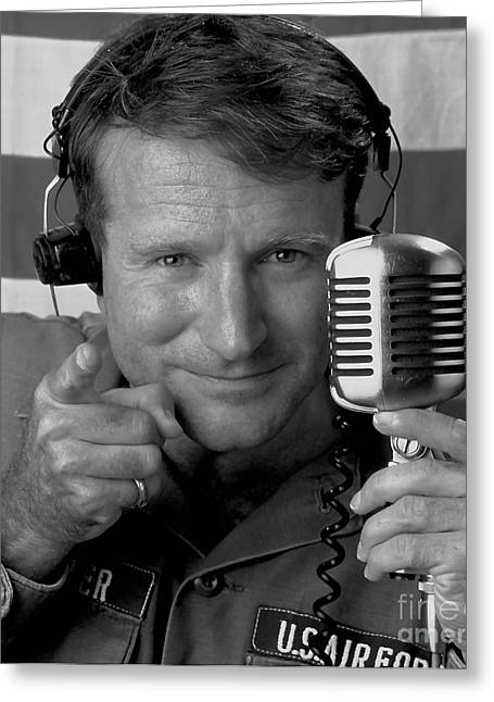 Comic Greeting Cards - Robin Williams Good Morning Vietnam Greeting Card by Marvin Blaine