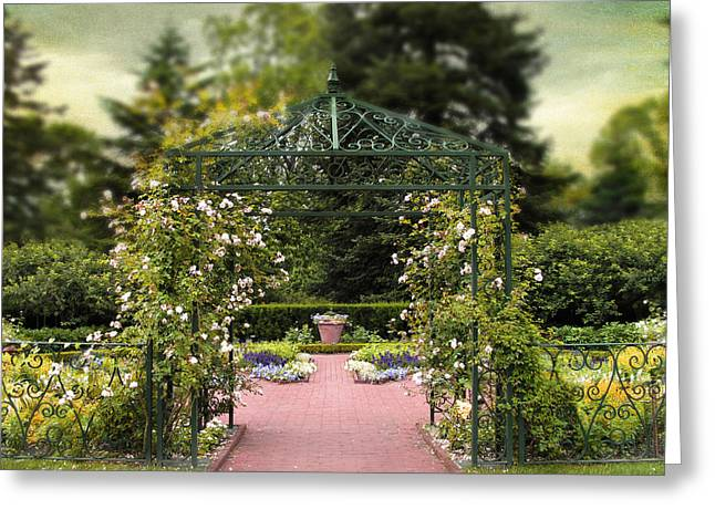 Trellis Digital Greeting Cards - Rose Arbor Greeting Card by Jessica Jenney