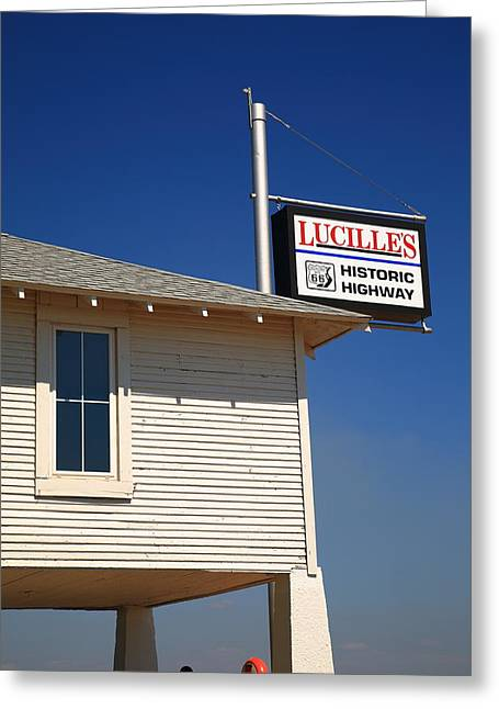 Lucille Greeting Cards - Route 66 - Lucilles Gas Station Greeting Card by Frank Romeo