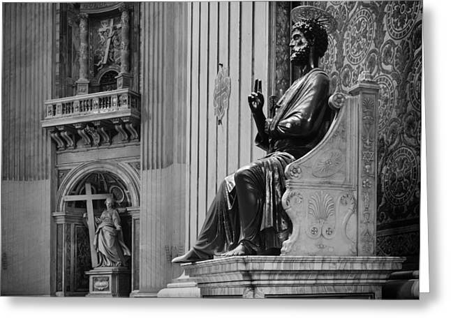 Historic Statue Greeting Cards - Saint Peters Basilica Greeting Card by Mountain Dreams