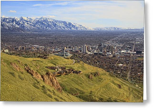 Salt Lake City Temple Greeting Cards - Salt Lake City Skyline Greeting Card by Utah Images