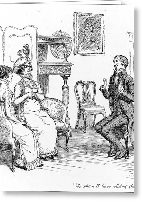 Gossiping Greeting Cards - Scene from Pride and Prejudice by Jane Austen Greeting Card by Hugh Thomson