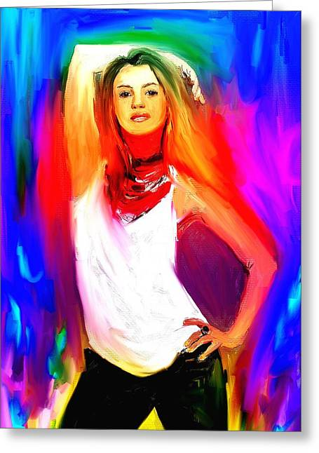 Shakira Paintings Greeting Cards - Shakira Greeting Card by Bogdan Floridana Oana