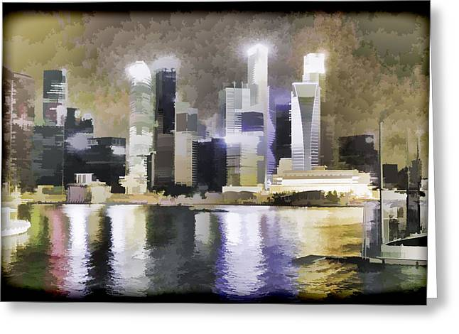 Singapore Greeting Cards - Singapore skyline as seen from the pedestrian bridge Greeting Card by Ashish Agarwal