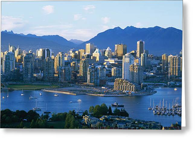 British Columbia Greeting Cards - Skyscrapers At The Waterfront Greeting Card by Panoramic Images