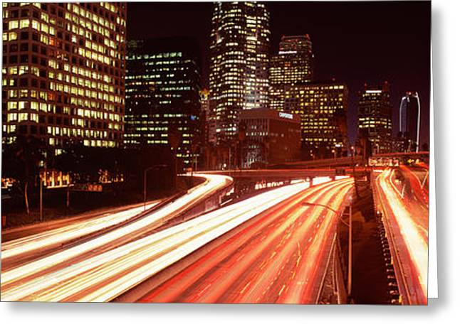 Headlight Greeting Cards - Skyscrapers In A City, City Of Los Greeting Card by Panoramic Images