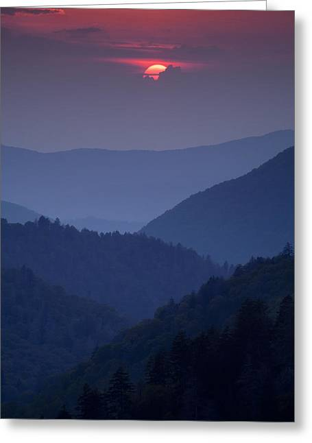 Great Smoky Mountains Greeting Cards - Smoky Mountain Sunset Greeting Card by Andrew Soundarajan