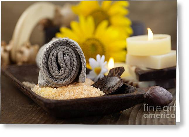 Olive Skin Greeting Cards - Spa setting Greeting Card by Mythja  Photography