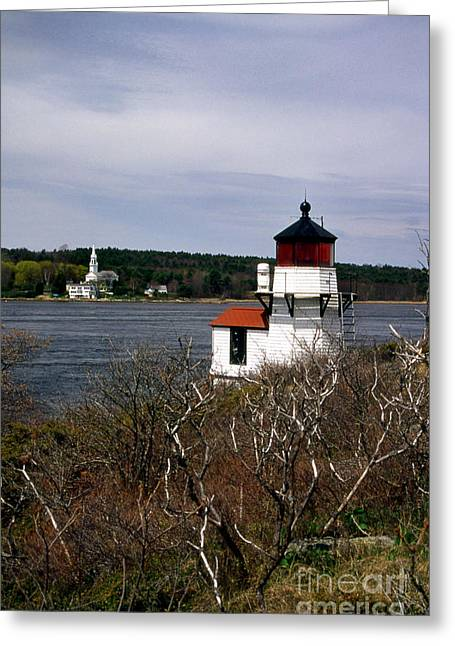 Ocean Art Photos Greeting Cards - Squirrel Point Lighthouse Greeting Card by Skip Willits