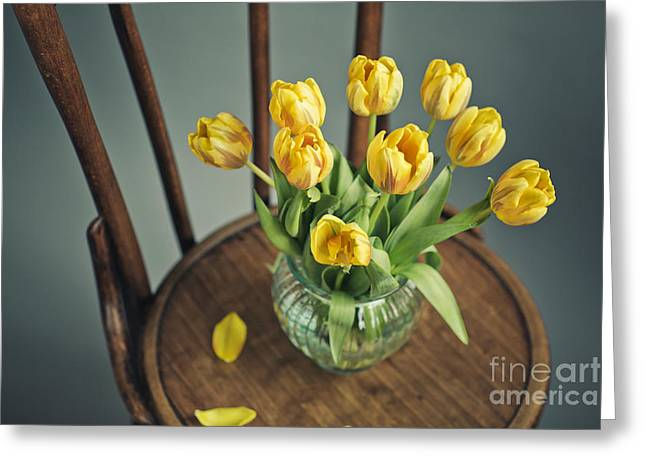 Tulip Greeting Cards - Still Life with Yellow Tulips Greeting Card by Nailia Schwarz