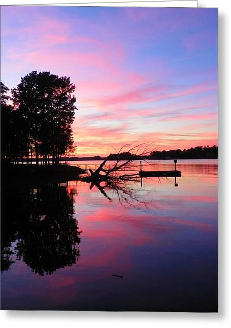 Dock Greeting Cards - Sunset Greeting Card by Lisa Wooten