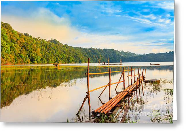 Amazing Sunset Greeting Cards - Tamblingan lake Greeting Card by MotHaiBaPhoto Prints
