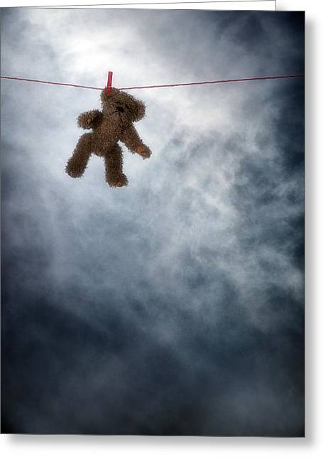 Clothes Line Greeting Cards - Teddy Bear Greeting Card by Joana Kruse