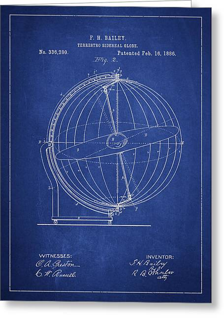 Continent Digital Greeting Cards - Terrestro Sidereal Globe Patent Drawing From 1886 Greeting Card by Aged Pixel