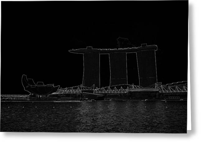 Tree Greeting Cards - The ArtScience musuem and the Marina Bay Sands resort in Singapore Greeting Card by Ashish Agarwal