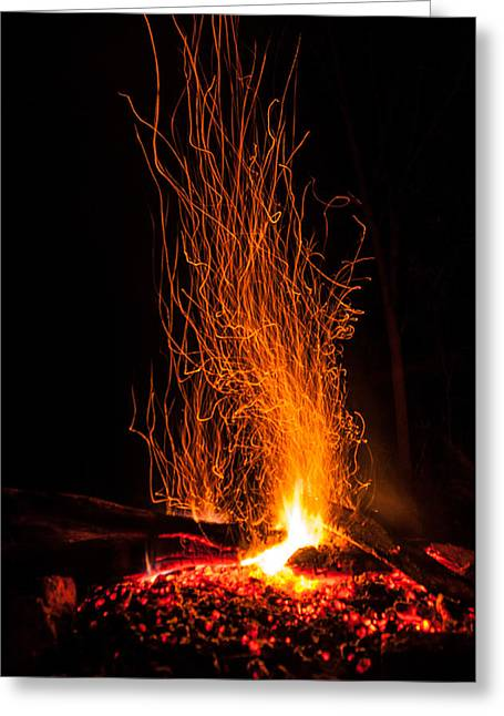 Shades Of Red Greeting Cards - The Campfire Greeting Card by Collective Memories