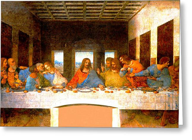 Gospel Of Matthew Greeting Cards - The Last Supper  Greeting Card by Leonardo da Vinci