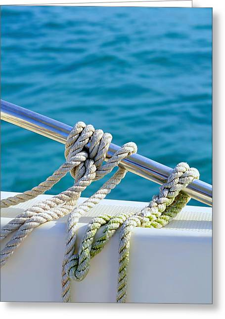 Sailboat Photos Greeting Cards - The Ropes Greeting Card by Laura  Fasulo