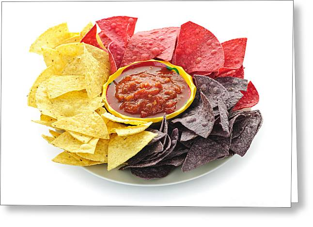 Crisp Greeting Cards - Tortilla chips and salsa Greeting Card by Elena Elisseeva