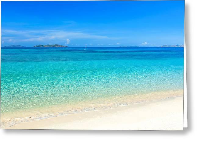 Palawan Greeting Cards - Tropical beach Malcapuya Greeting Card by MotHaiBaPhoto Prints