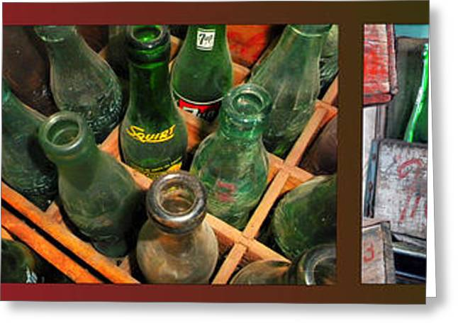 Glass Bottle Greeting Cards - 7 Up And Coca Cola Pop Bottles Triptych 3 Panel Greeting Card by Thomas Woolworth