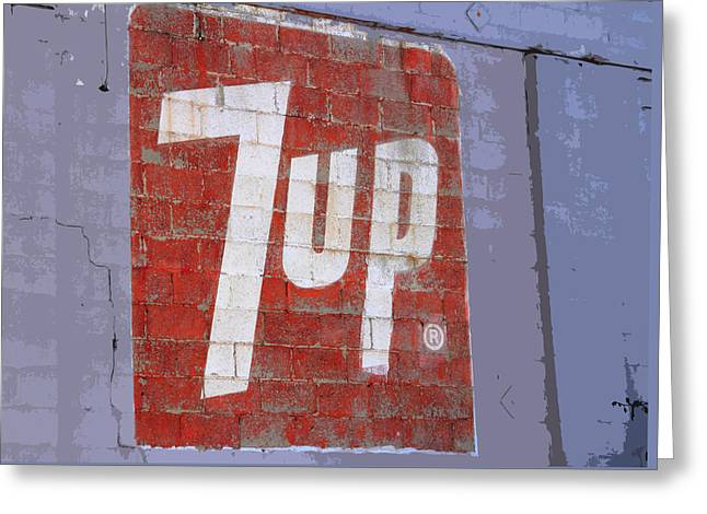 Seven-up Sign Greeting Cards - 7 Up Sign Greeting Card by Nick Gray