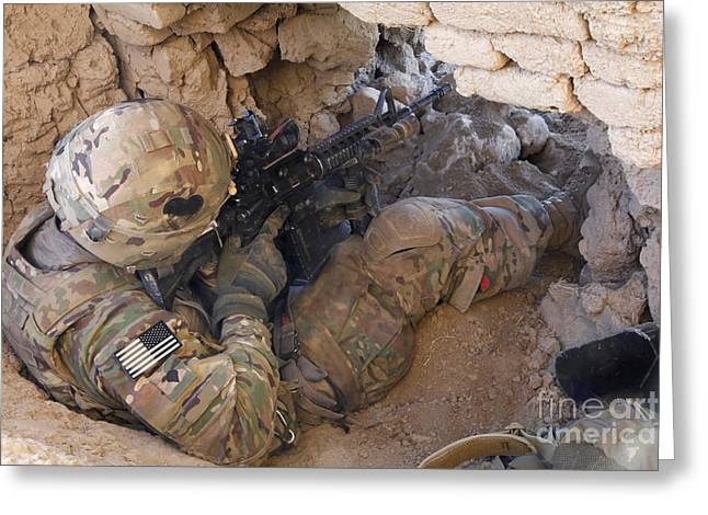 Operation Enduring Freedom Greeting Cards - U.s. Army Specialist Provides Security Greeting Card by Stocktrek Images