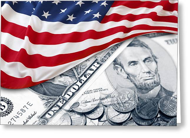 Coins Greeting Cards - USA finance Greeting Card by Les Cunliffe