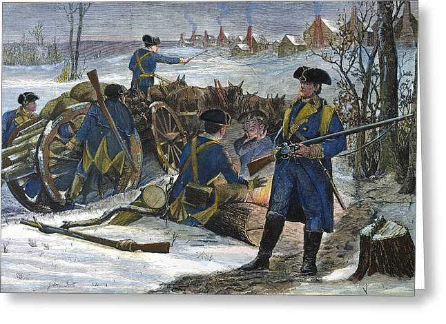 Log Cabins Greeting Cards - Valley Forge: Winter, 1777 Greeting Card by Granger