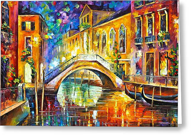 Waterways Greeting Cards - Venice Greeting Card by Leonid Afremov