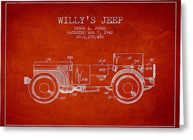 Off-road Greeting Cards - Vintage Willys Jeep Patent from 1942 Greeting Card by Aged Pixel