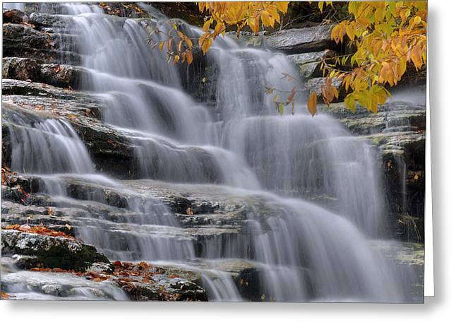 Fall Colors Greeting Cards - Waterfall In Autumn Greeting Card by Stephen  Vecchiotti