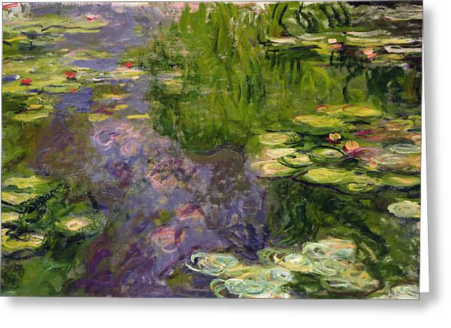 Pond Paintings Greeting Cards - Waterlilies Greeting Card by Claude Monet