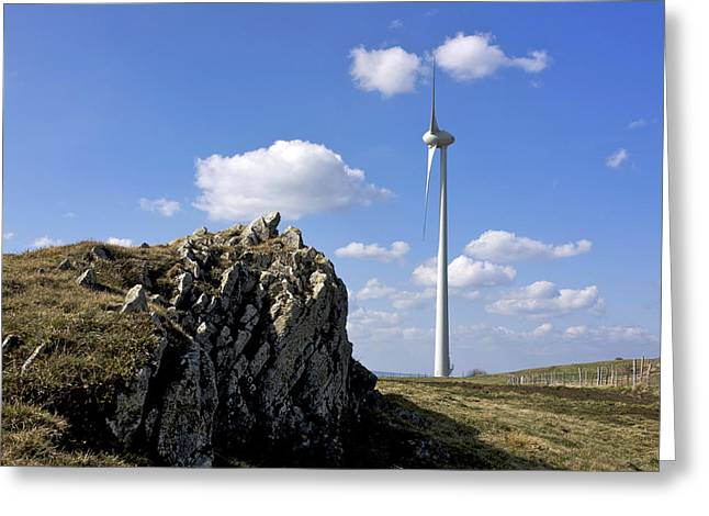 Power Plants Greeting Cards - Wind turbine Greeting Card by Bernard Jaubert