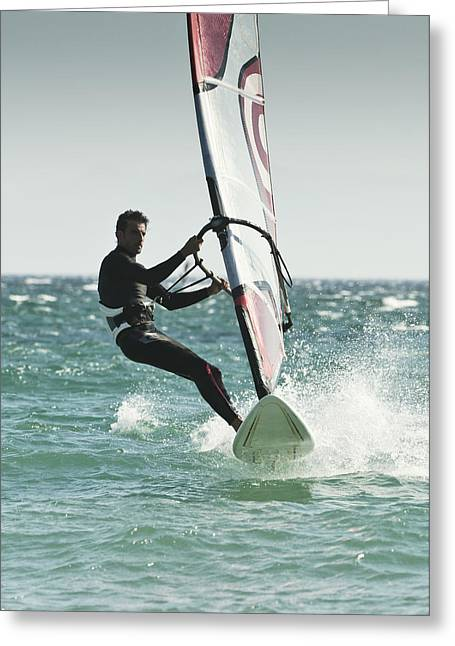45-49 Years Greeting Cards - Windsurfing Tarifa, Cadiz, Andalusia Greeting Card by Ben Welsh