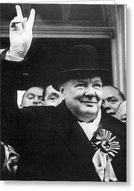 Nobel Prize Laureate Greeting Cards - Winston Churchill Greeting Card by Granger