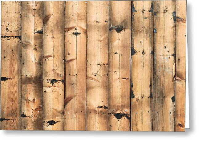 Border Photographs Greeting Cards - Wood background Greeting Card by Tom Gowanlock