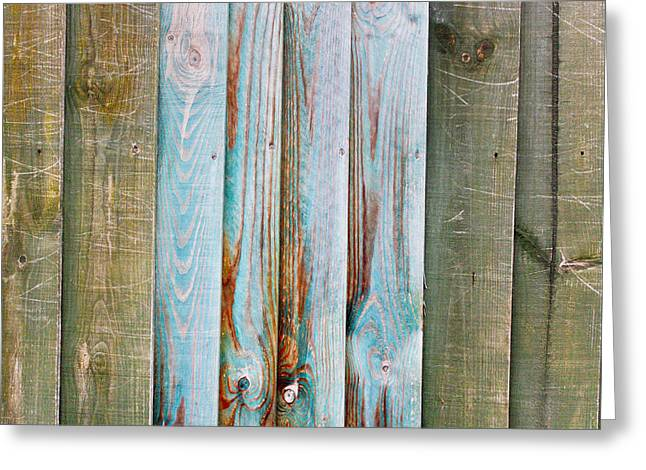 Border Photographs Greeting Cards - Wooden background Greeting Card by Tom Gowanlock