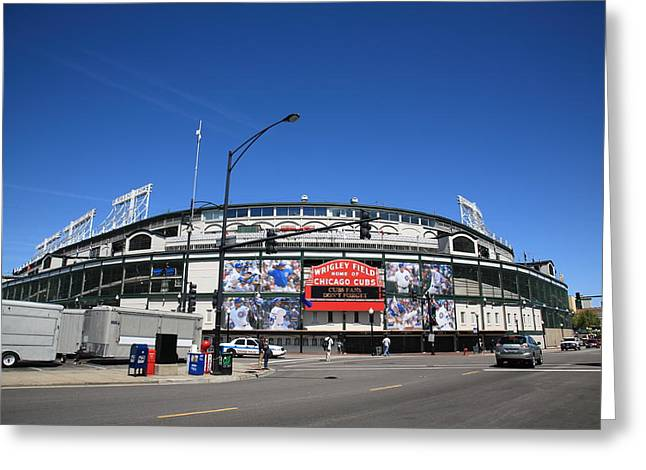 Baseball Art Photographs Greeting Cards - Wrigley Field - Chicago Cubs Greeting Card by Frank Romeo