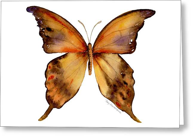 Background Paintings Greeting Cards - 7 Yellow Gorgon Butterfly Greeting Card by Amy Kirkpatrick