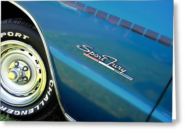 Mopar Collector Greeting Cards - 70 Plymouth Sport Fury GT details Greeting Card by Thomas Schoeller