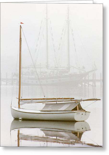 Beetle Cat Greeting Cards - 7060 Gaff Rigged Beetle Cat in Fog Greeting Card by Chris Maher