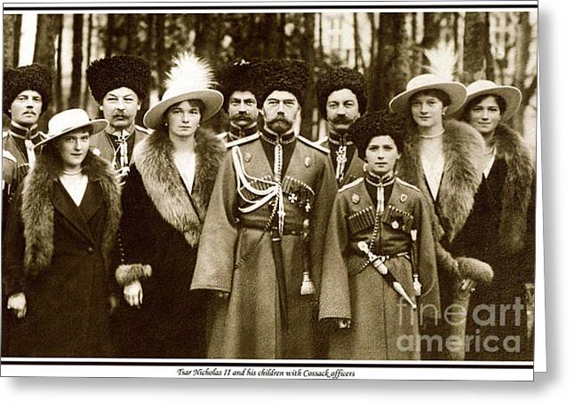 Saint Olga Greeting Cards - 72. Tsar Nicholas II and his children with Cossack officers Print Greeting Card by Royal Portraits