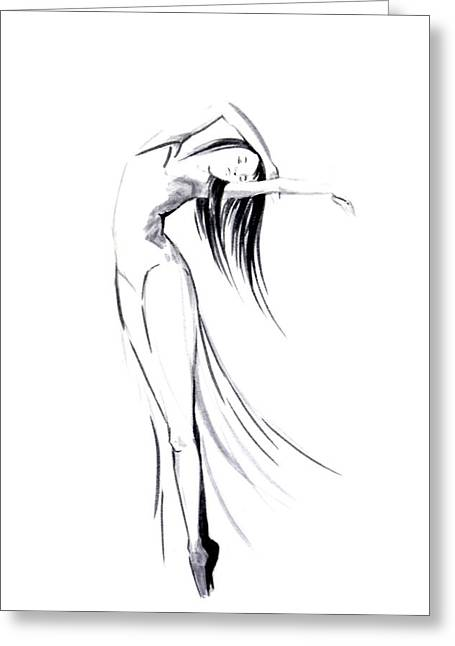 Ballet Dancers Drawings Greeting Cards - Untitled Greeting Card by Sophia Rodionov