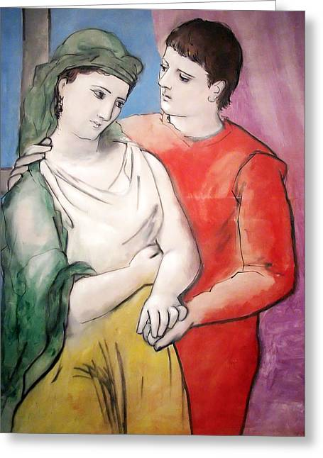 Pablo Paintings Greeting Cards - The Lovers Greeting Card by Pablo Picasso